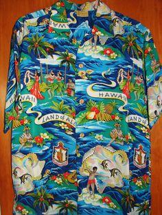 """""""Hale Hawaii"""" Land of Aloha, Rayon Kimono Shirt, Vintage Hawaiian Shirts, Bowling Shirts, Aloha Shirt, 50s Vintage, South Pacific, Japanese Kimono, Cool Shirts, Soldier 76"""