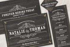 These faux wood wedding invitations are a touch of vintage and a touch of glamour with the real foil accents! Swanky.