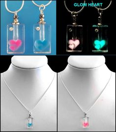 Enjoy Aromatherapy whenever and wherever you like! The glass heart design glows in the dark! Get the benefit wherever you go with our amazing hand crafted, glow in the dark, glass aromatherapy pendant/bottle on a sterling silver chain. Bottle Necklace, Beaded Necklace, Glass Oil Diffuser, Crystal Jewelry, Sterling Silver Chains, Aromatherapy, Benefit, Glow, Crystals
