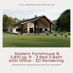 $595. Modern Version B. 3 Bed – 3 Bath ~ 2,810 sq. ft. with Loft Options. We sell semi-custom Barndominium floor plans and provide helpful tips to design and build your home whether it is DIY or you are paying a company. #architecture #barndominiums #home #modernbarn #barnhomefloorplans #beautifulbarn #homefloorplan #barnhomedesign #housedesign #barndominiumfloorplans #floorplan #dreambarn #barnhouse #barndominiumliving #barndominiumdesign #farmhouse #modernfarmhouse #3drendering