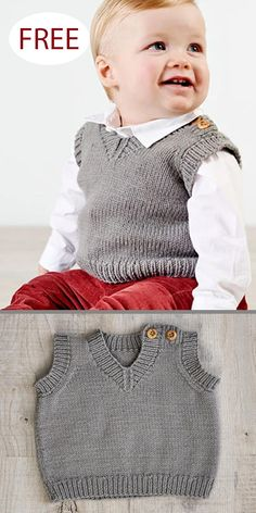 Free knitting pattern for baby slipover vest buttons on the shoulder make it easy to dress baby in this pullover v neck vest sizes to fit age 0 to 24 months dk weight yarn designed by jenny watson for west yorkshire spinners 17 chic tote bags for work Baby Cardigan Knitting Pattern Free, Baby Boy Knitting Patterns, Knitting For Kids, Baby Patterns, Free Knitting, Knitting Projects, Knitting Toys, Knitting Videos, Baby Overall