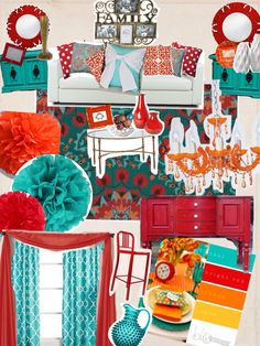 Orange, teal, Aqua, white Beige red modern living room!