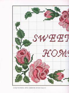 Sweet home chart Cross Stitch Pillow, Cross Stitch Charts, Cross Stitch Designs, Cross Stitch Patterns, Knitting Patterns, Beaded Cross Stitch, Cross Stitch Rose, Cross Stitch Flowers, Cross Stitch Embroidery