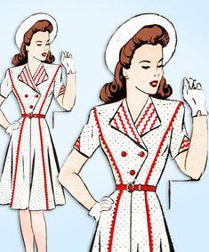 1940s Original Vintage Mail Order Pattern 8362 Misses WWII Suit Dress Size 33 B