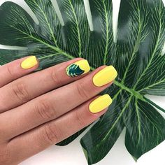 25 Fun Summer Nail Designs You Can't Afford To Miss. - juelzjohn Fun and creative summer nail designs that will blow your mind away. These summer nails will spice up and transform your whole look completely. Yellow Nails Design, Yellow Nail Art, Yellow Nail Polish, Yellow Makeup, Green Nails, Cute Acrylic Nails, Fun Nails, Glitter Nails, Gel Nails