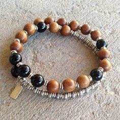 Patience, Onyx and wood 27 bead unisex wrap mala bracelet – Lovepray jewelry