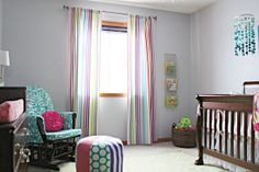 Rainbow curtains for Lily's room. IHeart Organizing: Baby Blakes Beautiful & Bright Friendly Nursery