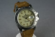 """Rolex Explorer II Ref. 16550 """"Cream Rail Dial"""", looking really fly on that rugged leather strap"""