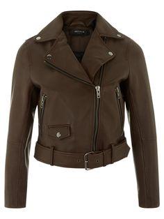 Welsch Cropped Brown Leather Biker Jacket #Muubaa #AW15