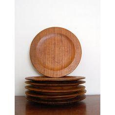 Vintage Teak Dinner Plates Set of 6 by 5th Street Bazaar $55