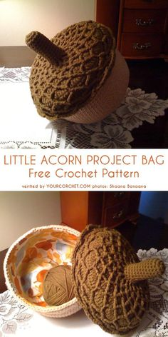 Little Acorn Project Bag Free Crochet Pattern - diiy amigurumi Crochet Pumpkin, Crochet Fall, Crochet Home, Crochet Gifts, Cute Crochet, Knit Crochet, Crochet Pour Halloween, Thanksgiving Crochet, Crochet Christmas