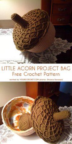 Little Acorn Project Bag Free Crochet Pattern - diiy amigurumi Crochet Pumpkin, Crochet Fall, Halloween Crochet, Crochet Home, Cute Crochet, Crochet Crafts, Crochet Projects, Crochet Ornaments, Crochet Snowflakes