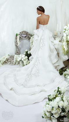 dar sara bridal 2016 wedding dresses elegant open low back chapel train embroidered embellishment gown