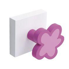 perchero flor lila y fucsia con base blanca madera lacada para habitacion adolescente