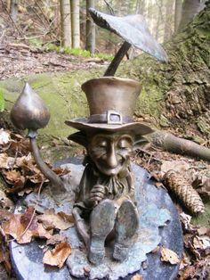 Bronze Garden Or Yard sculpture by artist Victoria Chichinadze titled: 'Money -Lender (Bronze Imp Elf Garden statues)'
