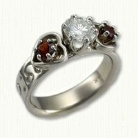 14kt White Gold Astrological Twin Hearts Engagement Ring set with a Round Diamond and side rubies