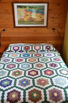 Grandmothers Flower Garden Quilt by Sewfrench, hand-pieced and hand-quilted, via Flickr
