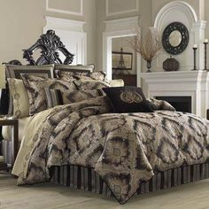J Queen New York Onyx Comforter Sets - Bedding Collections - Bed & Bath - Macy's Black Comforter Sets, Luxury Comforter Sets, Black Bedding, Queen Comforter Sets, Bedding Sets, Damask Bedding, European Pillows, Queens New York, California King Bedding