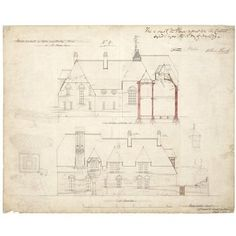 Design for Red House, Upton, Bexleyheath, by Philip Webb, Museum Number Draw Show, Red Houses, Edward Burne Jones, Drawing Studies, Flower Names, Pre Raphaelite, The V&a, William Morris, Architecture