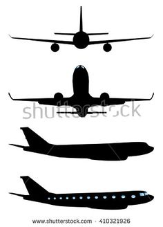 Simple black silhouettes of an airplane on white background.