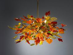 Hanging chandeliers warm color leaves and by Flowersinlight, $850.00