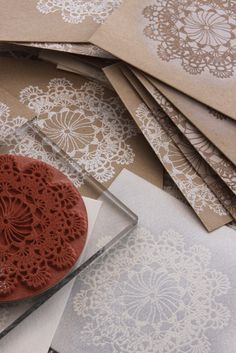 Cards with doily stamp, ♥ the white on crumbcake coloured card.