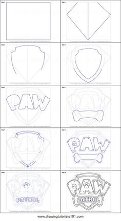 How to Draw Paw Patrol Badge Printable Drawing Sheet by http://DrawingTutorials101.com