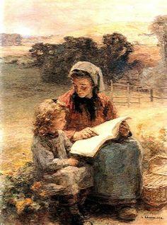 The reading lesson by Léon Augustin Lhermitte born 1844 in Mont-Saint-Père, France died 1925 in Paris, France
