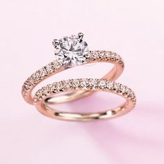 Make your #Valentine blush. This engagement ring showcases french pavé-set diamonds set in 14k rose gold.
