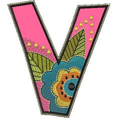 "Applique Letter V from ""A Brighter Place"" embroidery collection by Laurel Burch. A huge 70 design pack with 2 alphabets, words and accents."