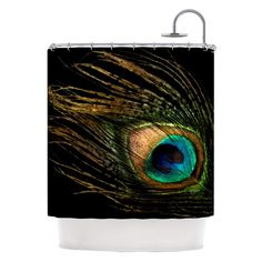 Kess Inhouse Peacock Feather Shower Curtains | www.hayneedle.com