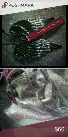 NWOTVictorias Secret Angel charm opal sparkle tote Flawless, opal sequence tote bag. Comes with Angel wing charm and victorias signature bar toggle. Rare find. I have two left!!!!! Message for details or measurements ??? Victoria's Secret Bags Totes