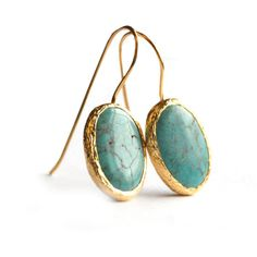 toosis Oval Turquoise Earrings In Silver Coated With 18ka ($64) found on Polyvore