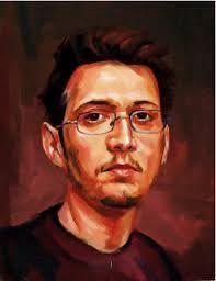 AUTOPORTRET 2008 pictură originală tablou portret în ulei pe pânză pictură realistă hiperrealistă portret unicat semnat de pictorul român Călin Bogătean, membru al Uniunii Artistilor Plastici din Romania AUTOPORTRET 2008