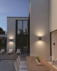 Savino 2 Light Outdoor Wall Light by Tech Lighting Outdoor Wall Mounted Lighting, Indoor Wall Sconces, Outdoor Light Fixtures, Patio Lighting, Exterior House Lights, Exterior Wall Light, Modern Exterior Lighting, Modern Lighting, Lighting Ideas