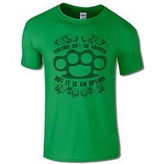 85336575449e Men s Knuckle Duster Violence Isn t The Answer T Shirt Green S