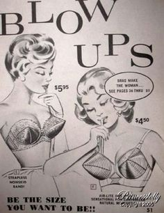 Vintage Advertisement - Blow Ups Bras Vintage Humor, Funny Vintage Ads, Funny Ads, Mode Vintage, Vintage Signs, Retro Vintage, Retro Funny, That's Hilarious, Old Advertisements