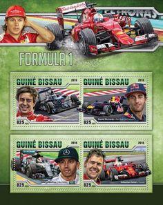 GB16512a Formula 1 (Fernando Alonso, McLaren-Honda; Daniel Ricciardo, Red Bull-TAG Heuer; Lewis Hamilton, Mercedes; Sebastian Vettel, Ferrari)