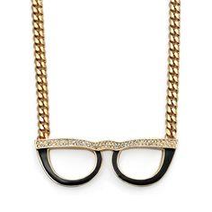 eyeglass necklace in brass Optometry, Specs, Eyeglasses, Eyewear, Gold Necklace, Geek Stuff, Vogue, Brass, Heart