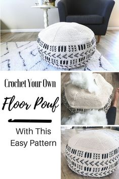A crochet pouf pattern to add a modern touch to your living room. Crochet patterns for the home are the best way to add a personal feel you can't get in stores.