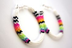 White/Neon Beaded Hoop Earrings by eleumne on Etsy, $35.00