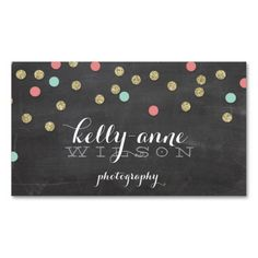 CONFETTI GLITTER cute gold coral mint chalkboard Business Cards. Make your own business card with this great design. All you need is to add your info to this template. Click the image to try it out!