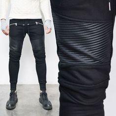 Slim Seaming Zipper Biker Jogger-Sweatpants 253 by Guylook.com