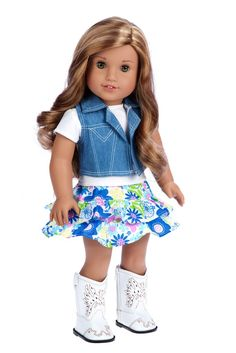 Colorful ruffled skirt with white cotton t-shirt, blue jeans vest and white cowgirl boots. - Doll outfit contains a wide back closure for easy dressing and clothing removal. - Our doll clothes fits 18