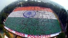 An aerial view of the Indian National Flag formed by volunteers that created a new Guinness World Record for the largest human flag formation, at Nandanam YMCA ground in Chennai. - PTI Photo