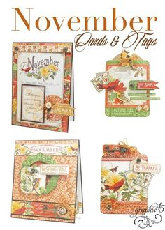 Graphic 45 Presents a November Time to Flourish Cards & Tags Project Sheet   Graphic 45®   Bloglovin'