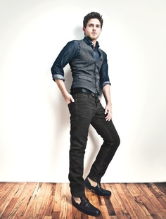 Kasil Workshop fw12 - grey striped vest, denim, shit, black denim pants, black lace-up boots