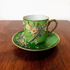 Here We Have a Vintage Demitasse Green Cup and Saucer with Applied Embossed Floral Pattern Made in JapanIn Excellent Vintage Condition We do our best to examine our pieces and accurately describe them for our customers Green Cups, Vintage Green Glass, Silver Spring, Jade Green, Pattern Making, Bone China, Cup And Saucer, Tea Cups, Art Deco