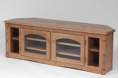 The Oak Furniture Shop - Solid Oak Country Style Corner TV Stand, Golden Oak - Entertainment Centers and Tv Stands