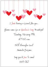 valentines day party or bridal shower invitation